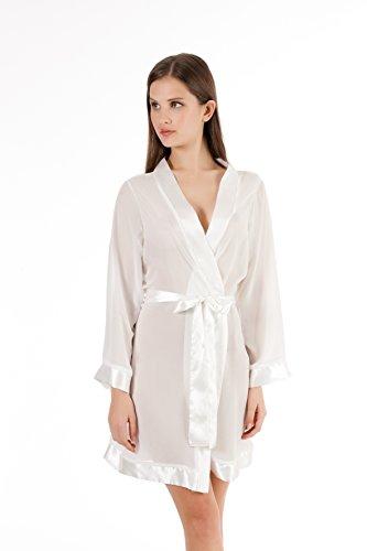 Bella Blue Damen Chiffon Kimono Weiß (Ivory)