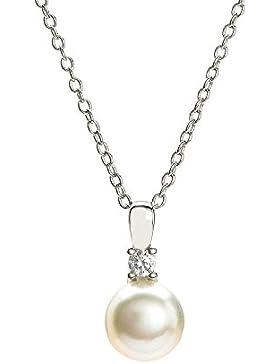 Eye Candy Damen-Halskette Collier 925 Sterling Silber rhodiniert Anhänger mit Süßwasser-Zuchtperle 8mm und 1 weißen...