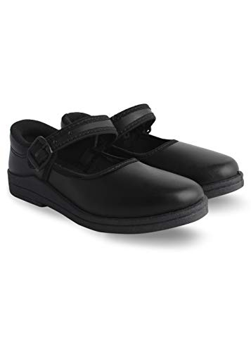 Bersache Kids(Girls) Superlight Weight and Comfortable Black PVC School Shoes (Size : 6C)