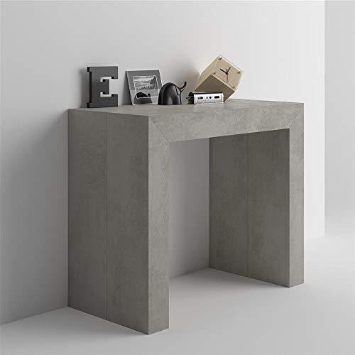Mobilifiver tavolo consolle allungabile angelica, colore cemento, 45 x 90 x 76 cm, nobilitato/alluminio, made in italy