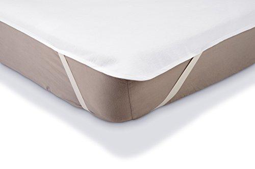 Amazonbasics coprimaterasso impermeabile in molton per letto a piazza francese, 140 x 200 cm, bianco