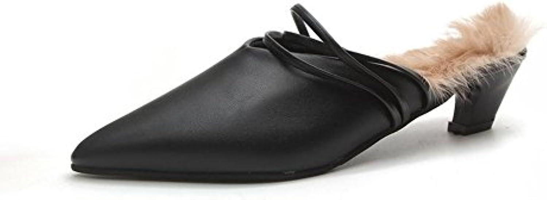 Longless Zapatillas de mujeres otoño y el pelo en punta de invierno con zapatos zapatillas medio de algodón