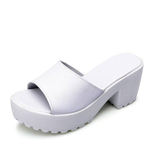 sandales à talons hauts en été/fashion femmes pantoufle/Un mot pantoufle/sandale plate-forme imperméable à l'eau/Chunky talons chaussures femme A