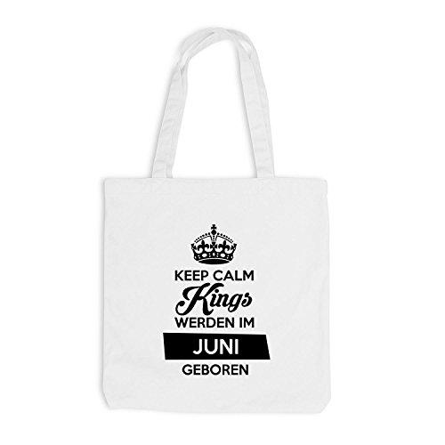 Jutebeutel - Keep Calm Kings werden im Juni geboren - Birthday Geburtstag Weiß
