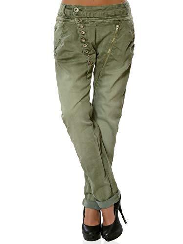 Daleus Damen Boyfriend Jeans Hose Knopfleiste DA 15962 Farbe Khaki Größe XL (Herstellergröße 42)
