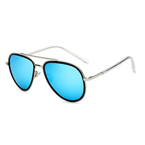 Easy Go Shopping Metall polarisierte vielseitige Sonnenbrille Brille gut aussehende Männer Mode Sonnenbrillen Sonnenbrillen und Flacher Spiegel (Color : Blau, Size : Kostenlos)