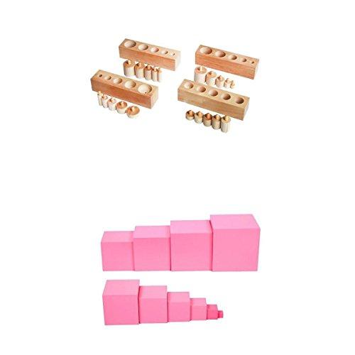 MagiDeal 1 Establecer Montessori Torre Rosa + 1 Conjunto de Bloques de Cilindro Montessori de DIY