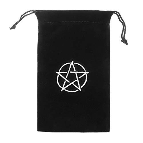 Aufbewahrungstasche mit Pentagramm-Motiv, Samt, für Spielkarten, Stickerei, Kordelzug -