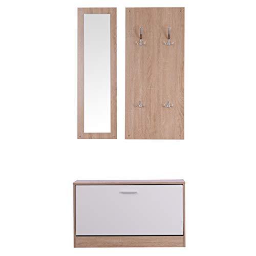 HOMCOM 3 EN 1 Conjunto de Muebles de Entrada Recibidor Pasillo Set de 3 Piezas Perchero Espejo Zapatero...
