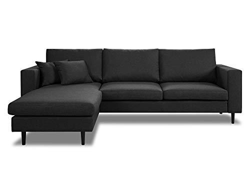 Dlm design delamaison divano angolare reversibile in tessuto con cuscini sfoderabili graham grigio antracite