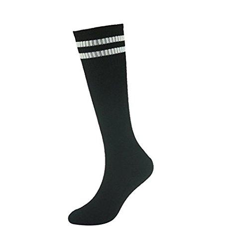 Demarkt Fußball Socken Sport Socken Volleyballsocken Stutzenstrumpf Tanzensocken für Damen und Herren gute Elastizität Streifen schwarz