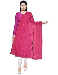 Mubarakpur Weaves' Women's Cotton Silk Handloom Dupatta (Pink)