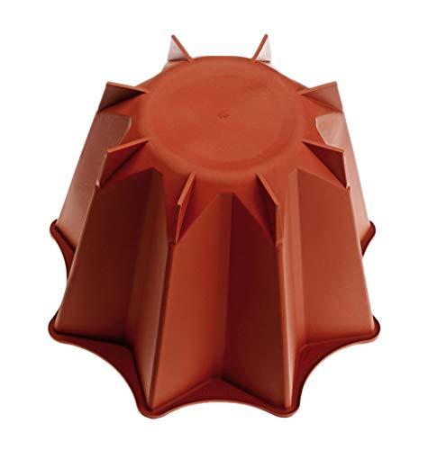 HappyFlex Tortiera Pandoro, capacità 1 Litro, Silicone, Rosso, 18x18x12.5 cm