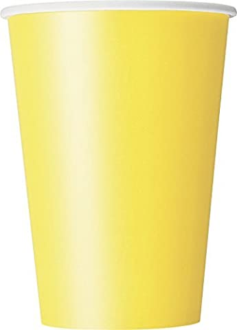 12oz Soft Yellow Paper Cups, Pack of 10 by Unique Party