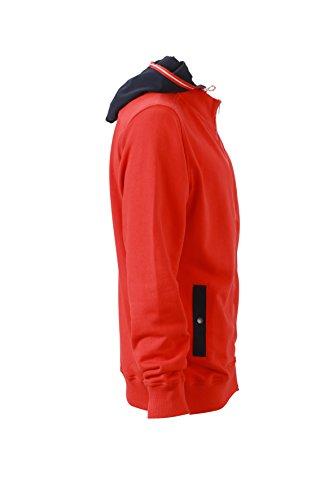 James & Nicholson Herren Hooded Jacket Sweatshirt Rot (Tomato/Navy)