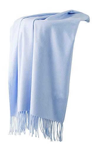 Dolamen Unisex Damen Herren Schal Schlauchschal mit Fransen, Winter Feinstrick Halstücher Stolen Umschlagtücher Schal, Warmes Halstuch für Business (78.74 * 27.56 zoll (200cm*70cm), Blau)