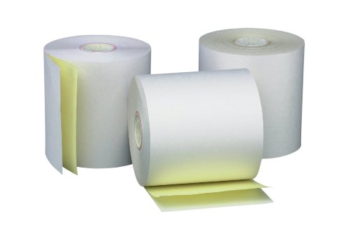 PM Company Perfection Two Ply Carbonless Rolls, 3 X 95 Feet, White/Canary, 50 Rolls Per Carton (07901)