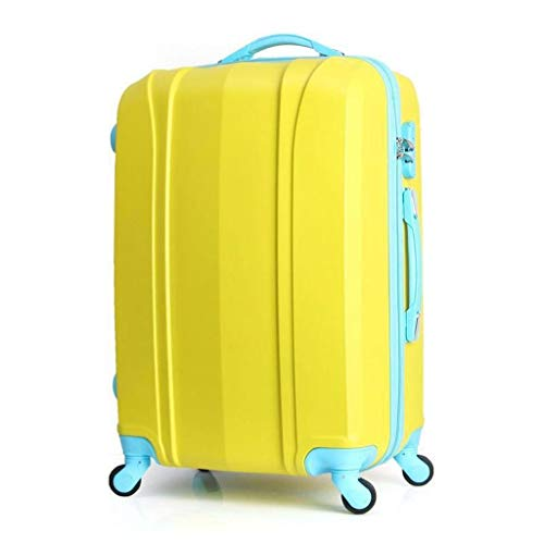 ZYL Valigia Valigia ABS Carrello portabagagli Bagaglio da Viaggio Universale 20 Pollici Verde, 54 cm Trolley (Color : Yellow, Size : 20 inches36x24x54cm)