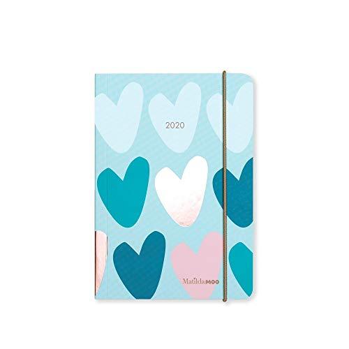 Matilda MOO 2020 - Agenda (tamaño A6), diseño de día por página, color Menta...
