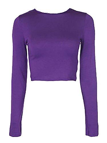 WearAll Nuovo Donna Crop T-Shirt A Maniche Lunghe da Donna Corto Semplice Rotondo Collo Canotta 8-14 Purple