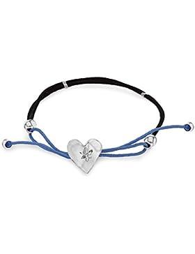 Tuscany Silver Blau und schwarz Kordel Armband Sterling Silber Geschnitten Herz Einstellbar 19cm/7.5zoll - 21.5cm...