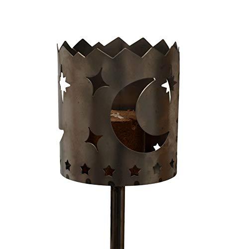 Unbekannt Gartenfackel auf Stecker aus Metall, Motiv Mond, mit Brennelement