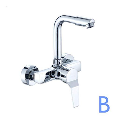 Wasserhahn Wall Mounted Kitchen Faucet Chrome Wall Kitchen Mixers Kitchen Sink Tap 360 Degree Swivel Flexible Hose Spray Head Double Holes -