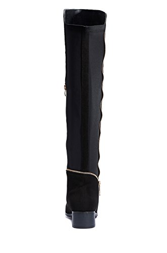 FFOMO Clare, die Faux Wildleder Knie hohe Stiefel mit Reißverschluss Black
