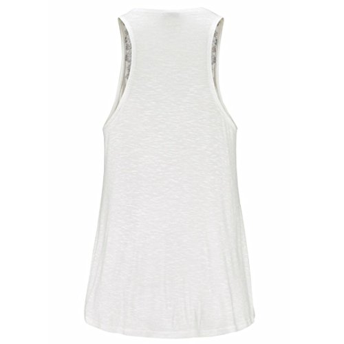 Maglietta da Donna Colde® Women Summer Print V-Neck Sleeveless Straps Vest Shirt Tank Tops Blouse T-shirt ♀ : White