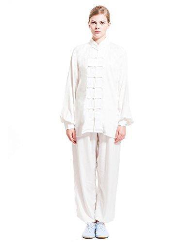 icnbuys Damen Tai Chi Uniform Baumwolle schwarz weiß, Damen, weiß