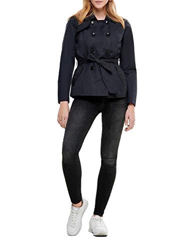 ONLY Damen Kurz-Mantel Jacke onlLAURA Short Trenchcoat, Größe:M, Farbe:Blau - Kurze Kunstfell-mantel