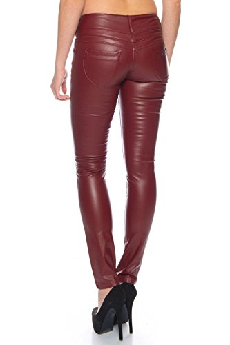 BENK Damen Leder Optik Hose Legging Leggins Wetlook Lack Jeans Jegging (Rot, 36)