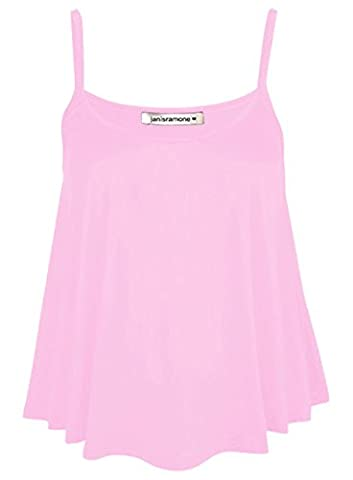 New Womens Plain Swing Vest Sleeveless Top Strappy Cami Ladies Plus Size Flared XXL (UK 20-22) BABY PINK