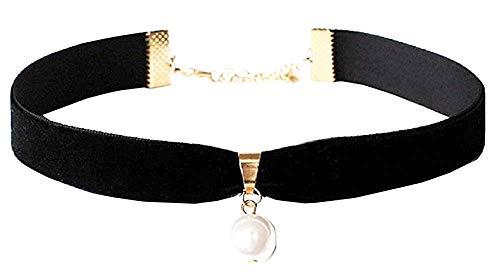 Lovelegis Kette für Frauen - Damen Halskette - Kragen - Schwarzer Samt - Weiße Perle - Viktorianisch - Gotik - Schwarze Farbe
