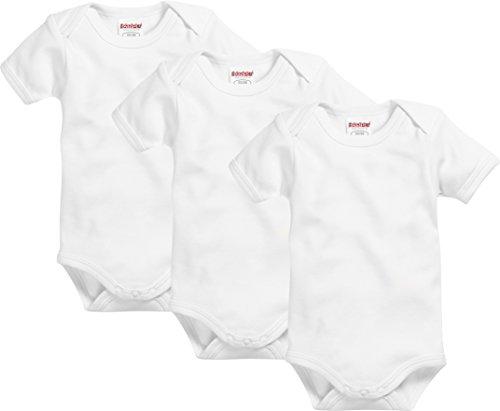 Schnizler Unisex Baby Body Kurzarm, 3er Pack Uni, Oeko-Tex Standard 100, Weiß (Weiß 1), 86 (Herstellergröße: 86/92)