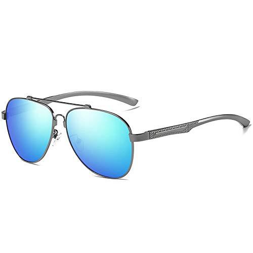 LPLHJD Sunglasses Al-Mg Legierung Rahmen Polarisierte Sonnenbrille Für Männer Frauen Mode Farbe Blau Film Outdoor Fahren Sonnenbrille (Color : Blau, Size : Kostenlos)