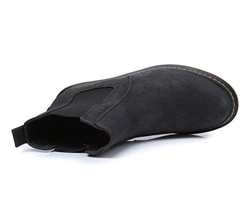 Smilun Bottes Chelseas Chaussures Femme Gros Talon Élastique U Gousset Noir