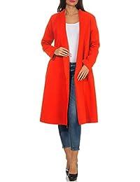 malito Donna lungo Cappotti Cascata-Design Cardigan Basic 3050