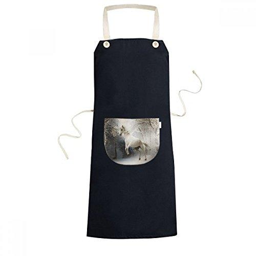 beatChong White Horse Wissenschaft Natur-Landschaft Kochen Küche Schwarz Schürzen mit Taschen für Frauen Männer Chef-Geschenke