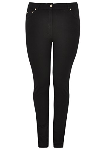 Yoek Damen Übergrößen Jeans Slim Fit Schwarz