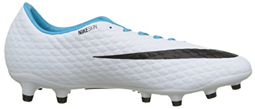 Nike Hypervenomx Phelon FG, Scarpe da Calcio Uomo Blu (White/black-photo Blue-chlorine Blue)