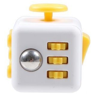 MK Collections Yellow Fidget Cube Prime 3.5 cm Stress & anxiety release toy for Adults & Children - For Autism ADHD, ADD,OCD - Use at desktop, School or home - Party favour - Gift Boxed