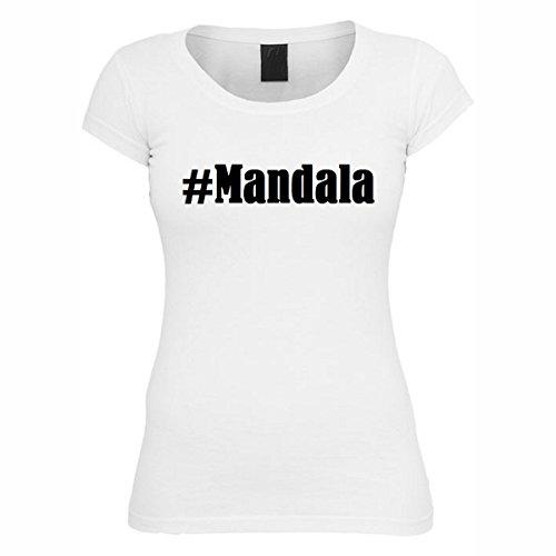 T-Shirt #Mandala Hashtag Raute für Damen Herren und Kinder ... in den Farben Schwarz und Weiss Weiß
