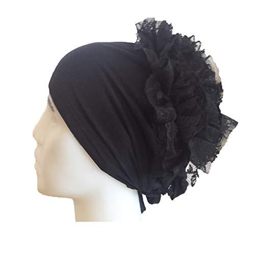 Ekol Turban Binde Bonnet Rüschen Hijab Cap Islam Tessetür Chemomütze Baumwolle Beanie Mützen bei Haarausfall Behandlung (Schwarz)