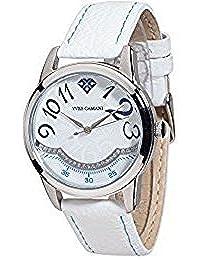 Yves Camani Damen-Armbanduhr Champaubert mit silbernem Edelstahl-Gehäuse und weißem mit 23 Zirkonia-Steinen besetztem Zifferblatt. Elegante Quarz Damen-Uhr mit weißem Leder-Armband.