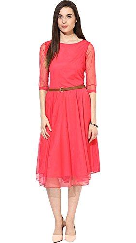 Varibha Women's Dress (Aaiotu00035D01-Slf_Queen Pink_X-Large)