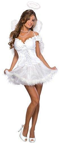 Damen Sexy weiß Weihnachtsengel + Halo + Wings Kostüm Kleid Outfit UK 6-18 - Weiß, Weiß, 8-10 (Angel Halo Kostümen)