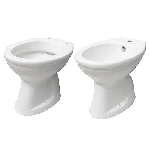 Sanitari in ceramica vaso wc e bidet con scarico a parete o a terra l