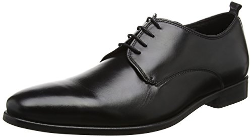 Bertie Herren Protons Derbys Schwarz (Black Leather) 44 EU
