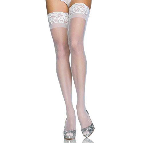 LEG AVENUE 1022Q - Plus Größe Transparante Spandex Halterlose Strümpfe, Weiß (EUR 42-46)